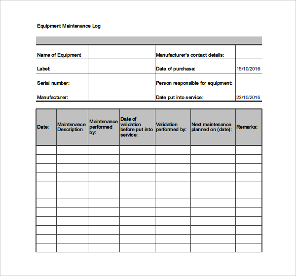 Maintenance Log Template – 10+ Free Word, Excel, PDF Documents
