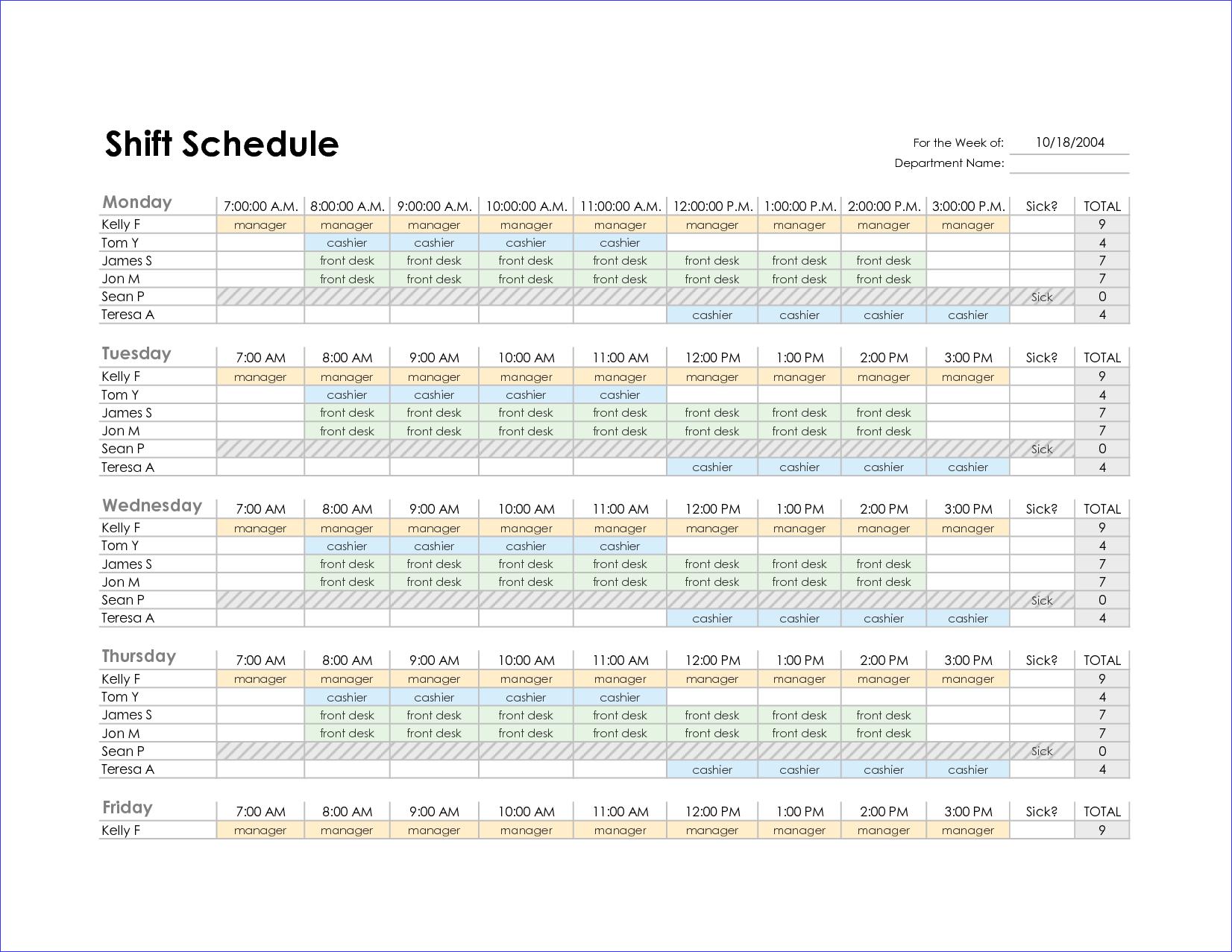 staff schedule excel
