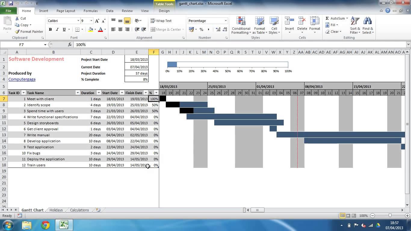 Free Excel Gantt Chart Template 2010