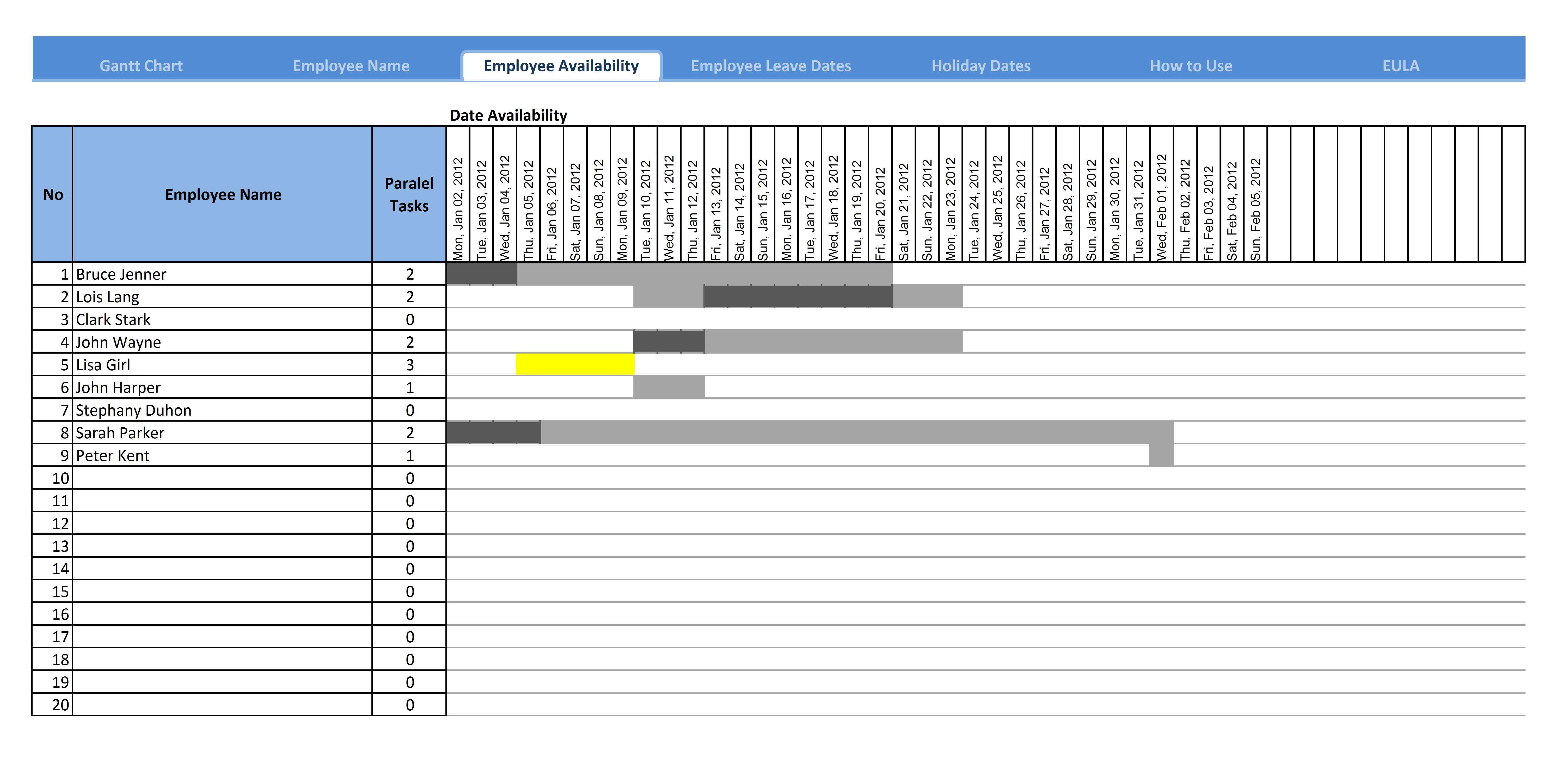 Gantt Chart Excel Template 2010