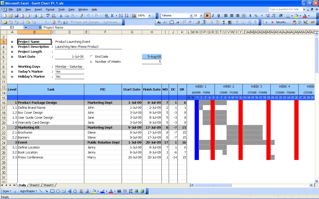 Gantt Chart Template For Excel 2003