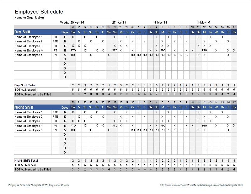Employee Schedule Template | Shift Scheduler