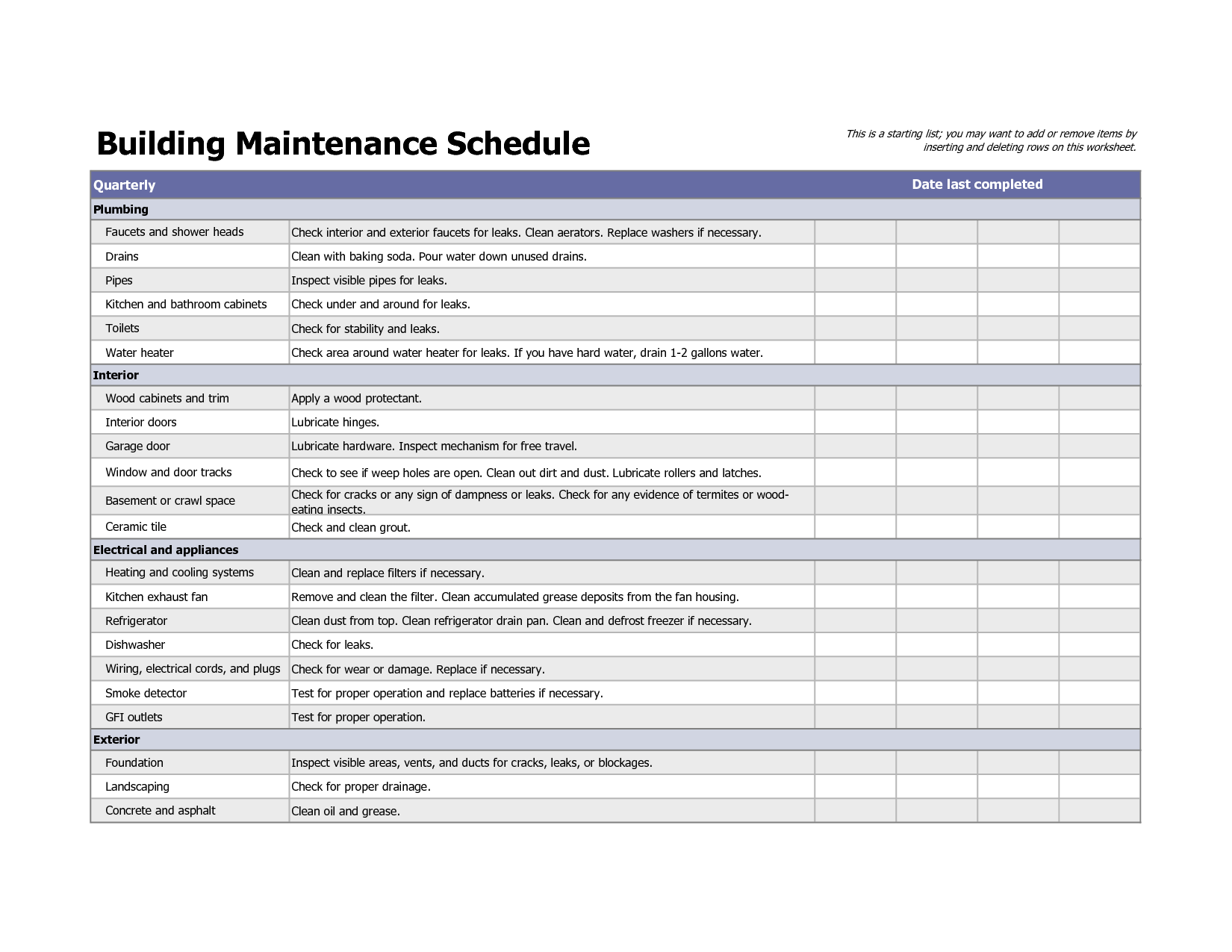 Building Maintenance Schedule Excel Template | maintenence