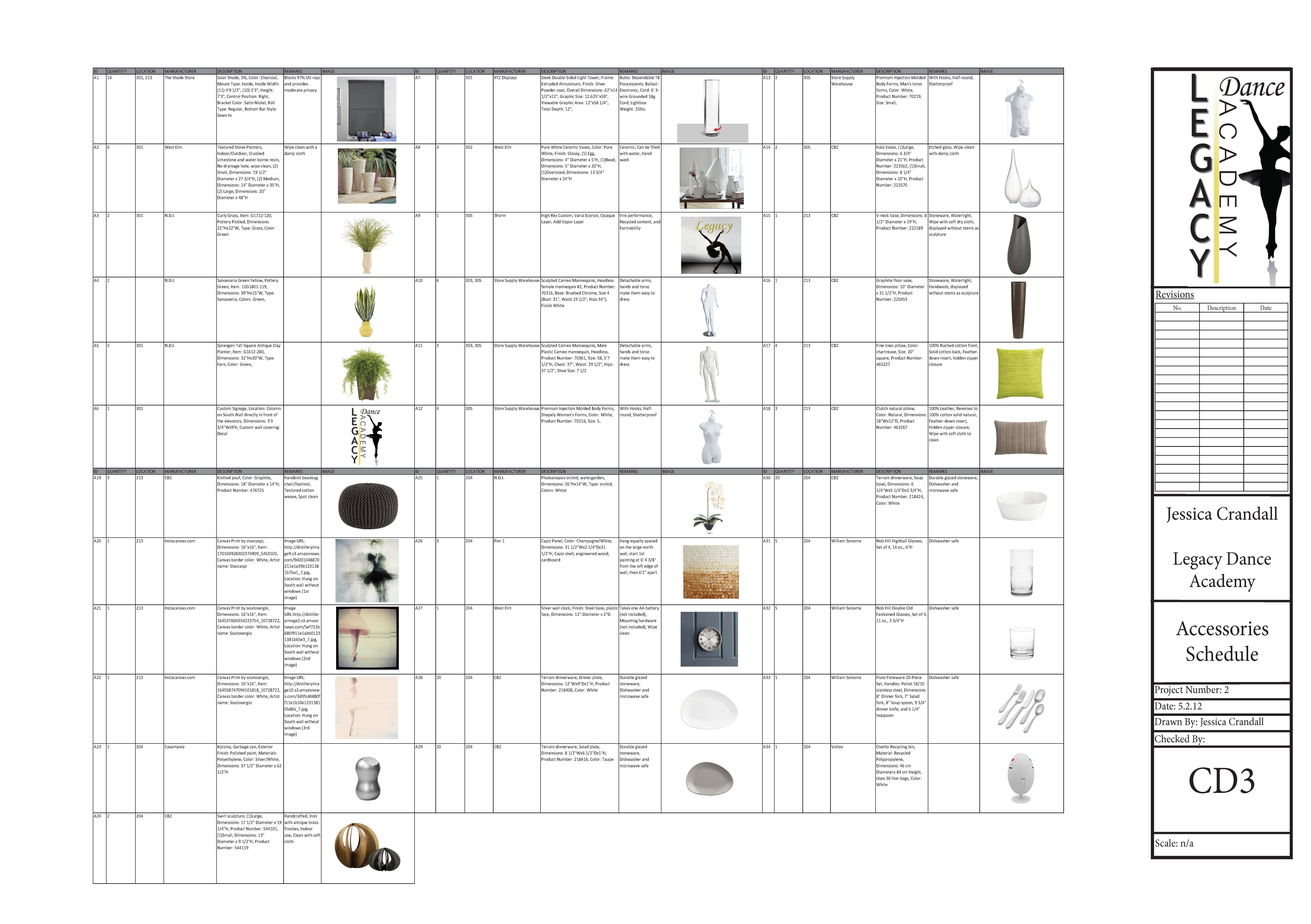 Furniture Schedule Template