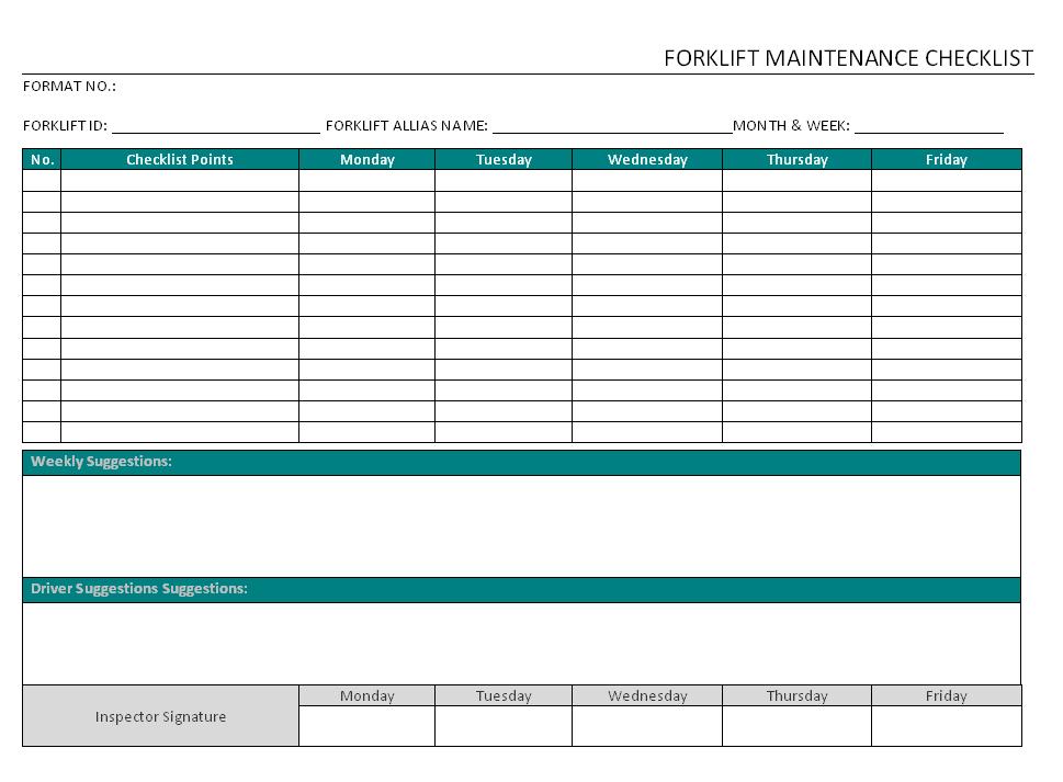 Forklift Maintenance Checklist format | Word | PDF | Report