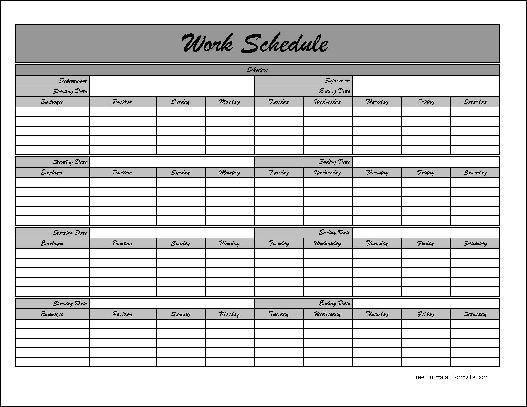 Mws Work Schedule. Biweekly Work Schedule Template Free Weekly