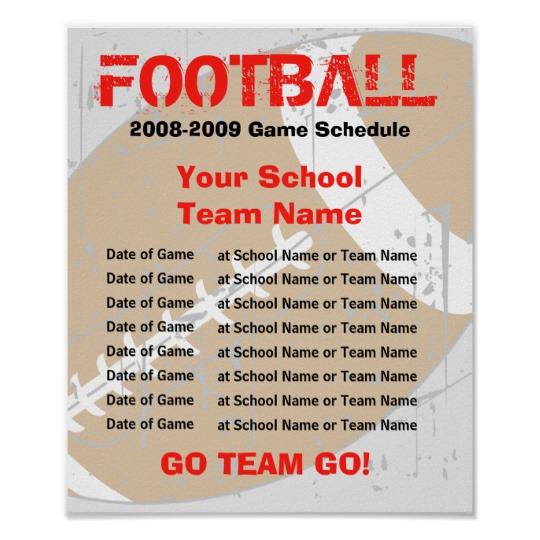 Football Schedule Poster Template | Zazzle.com