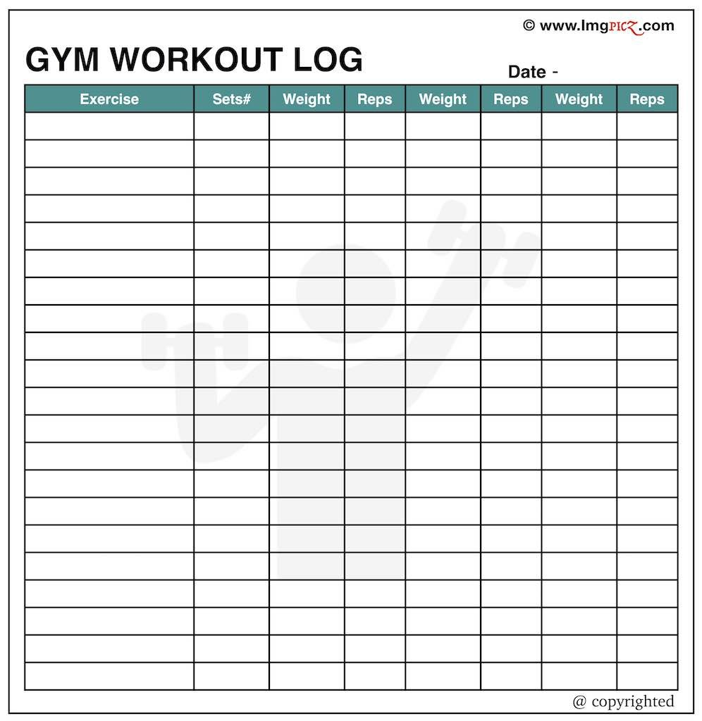 Workout Log Template Excel | Free Gym Schedule & Plan Chart Printable
