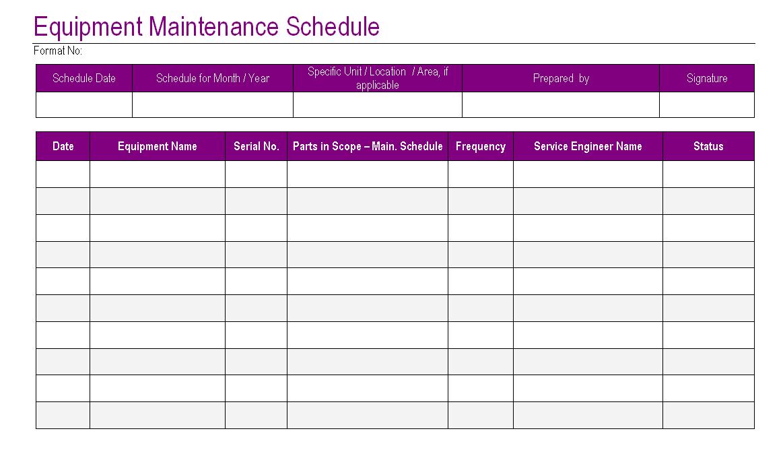 heavy equipment maintenance log