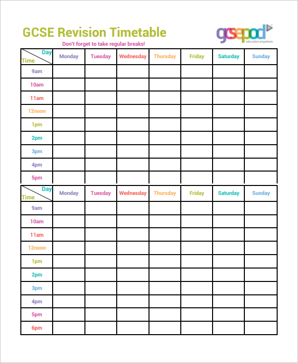 Homework Schedule Templates Word, Excel, PDF Format