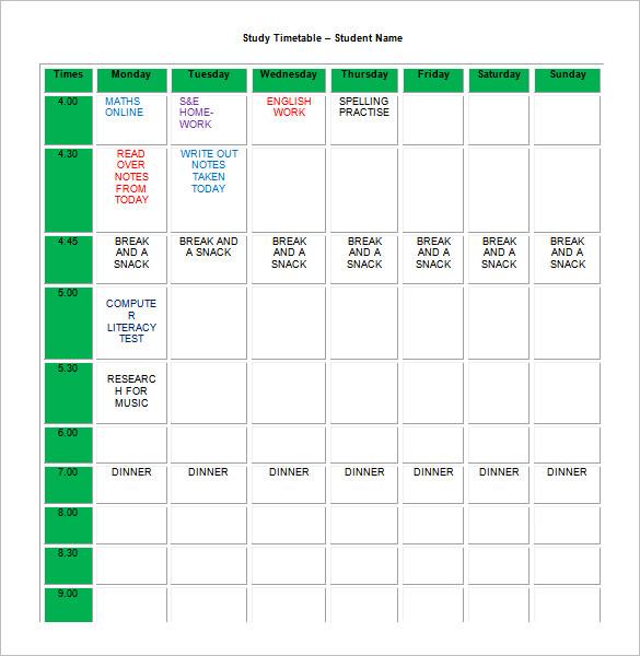 Homework Schedule Templates  Excel