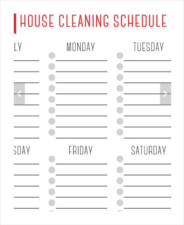 Weekly House Cleaning Schedule Template & Checklist Chart, Printable