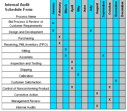 Internal Audit Schedule Template