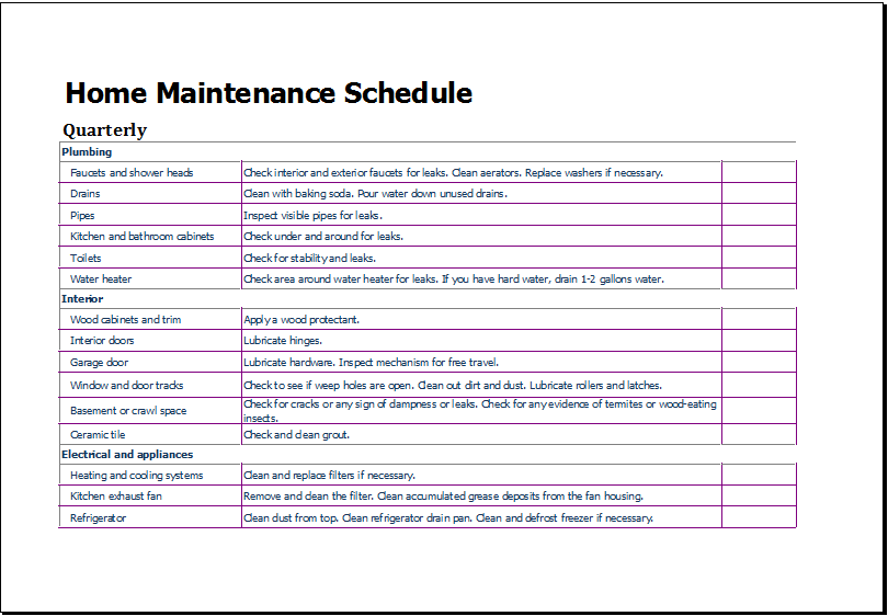 Home Maintenance Schedule Template for Excel | Excel Templates