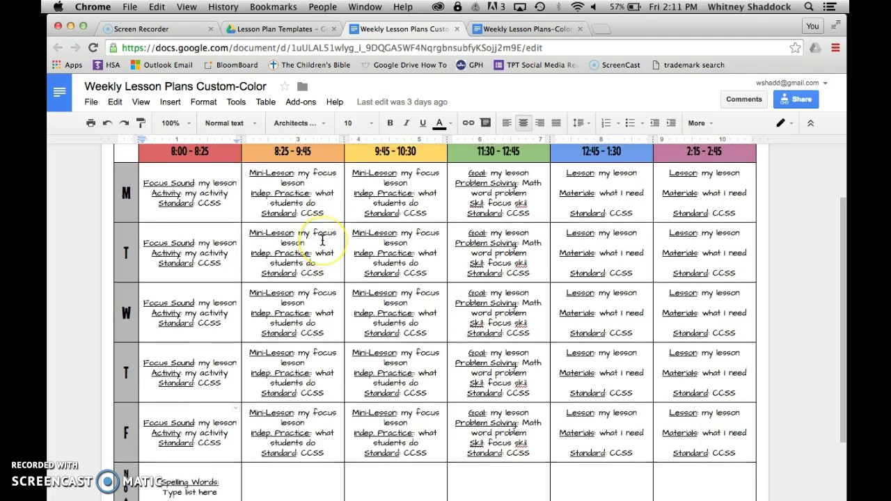 Lesson Plan Templates: Google Drive YouTube
