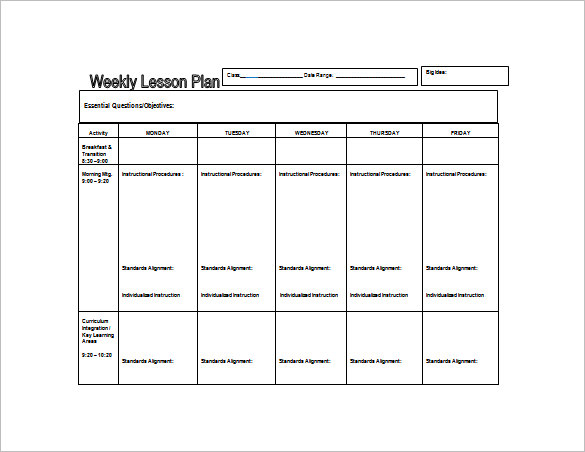 Weekly Lesson Plan Template Doc Sample Weekly Lesson Plan 8