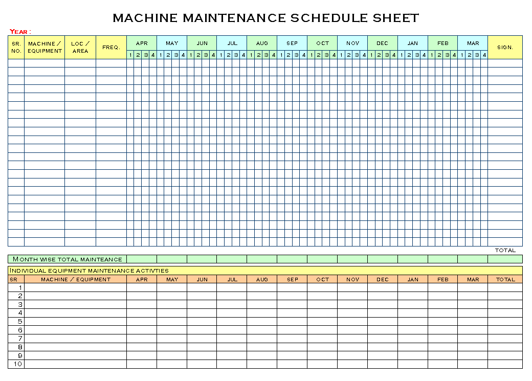 Clever Machine Maintenance Schedule Sheet Template : V m d.com