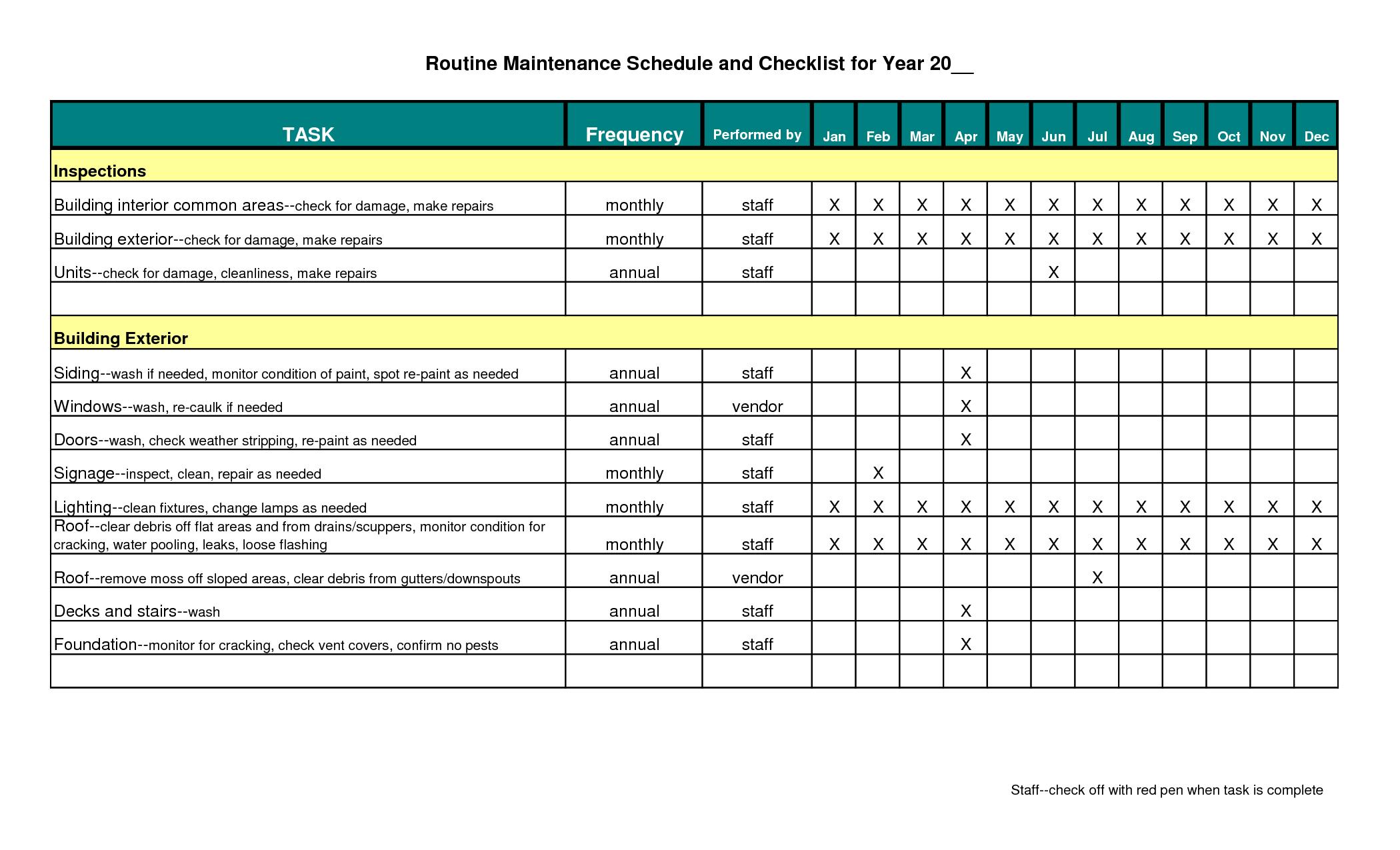 Building maintenance schedule excel template infinite photoshots