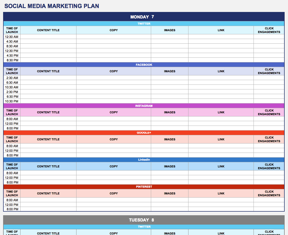 Free Marketing Plan Templates for Excel Smartsheet