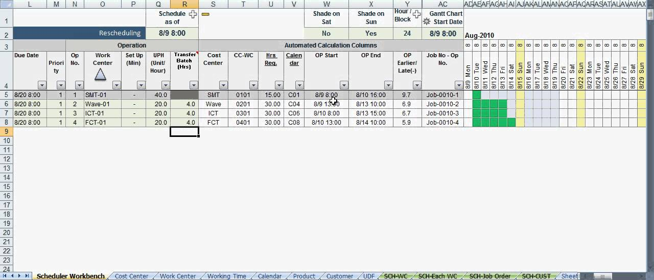 Scheduler123 Part A : Excel based Production Scheduling System