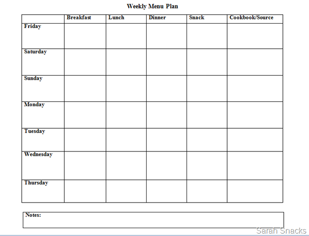Meal Plan Template Google Docs Free