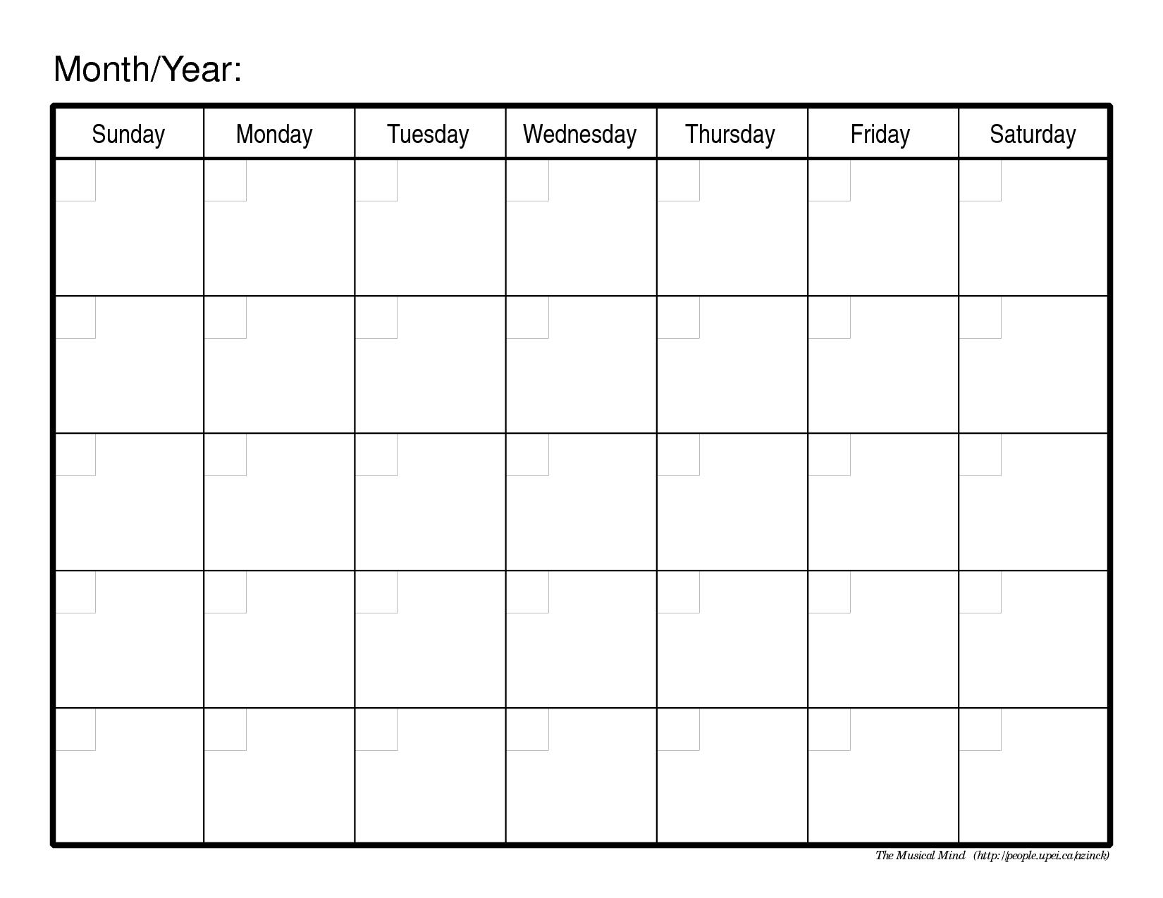 Monthly Calendar Template   monthly calendar template