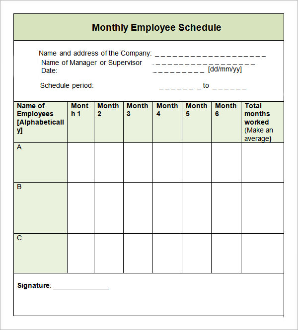 Monthly Schedule Template. Calendar Templates Download Monthly