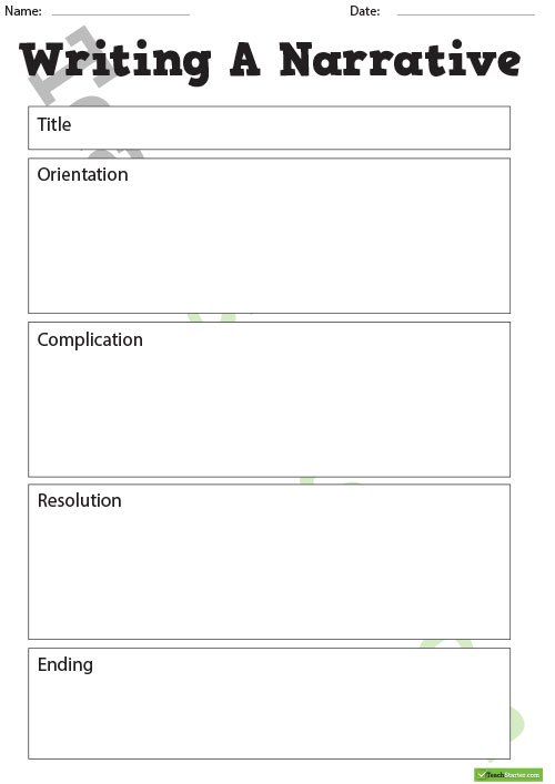 A Story Narrative Writing Prompts and Writing Plan Template