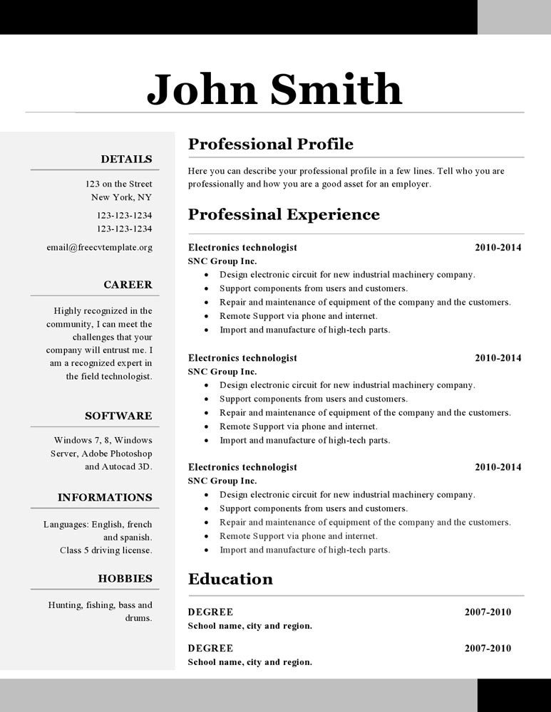 Resume Template. Resume Template Open Office Free Career Resume