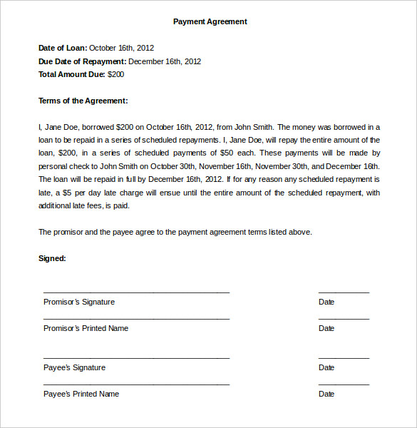 Payment Plan Agreement Resume
