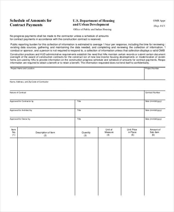Contract Payment Schedule Template 10+ Free Word, PDF Format