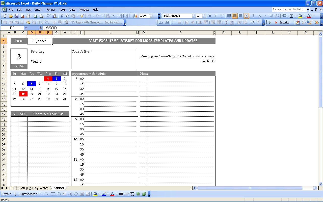 Daily Planner Template DC Design