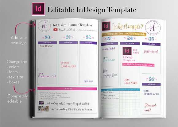 Weekly Calendar | InDesign Template ~ Stationery Templates