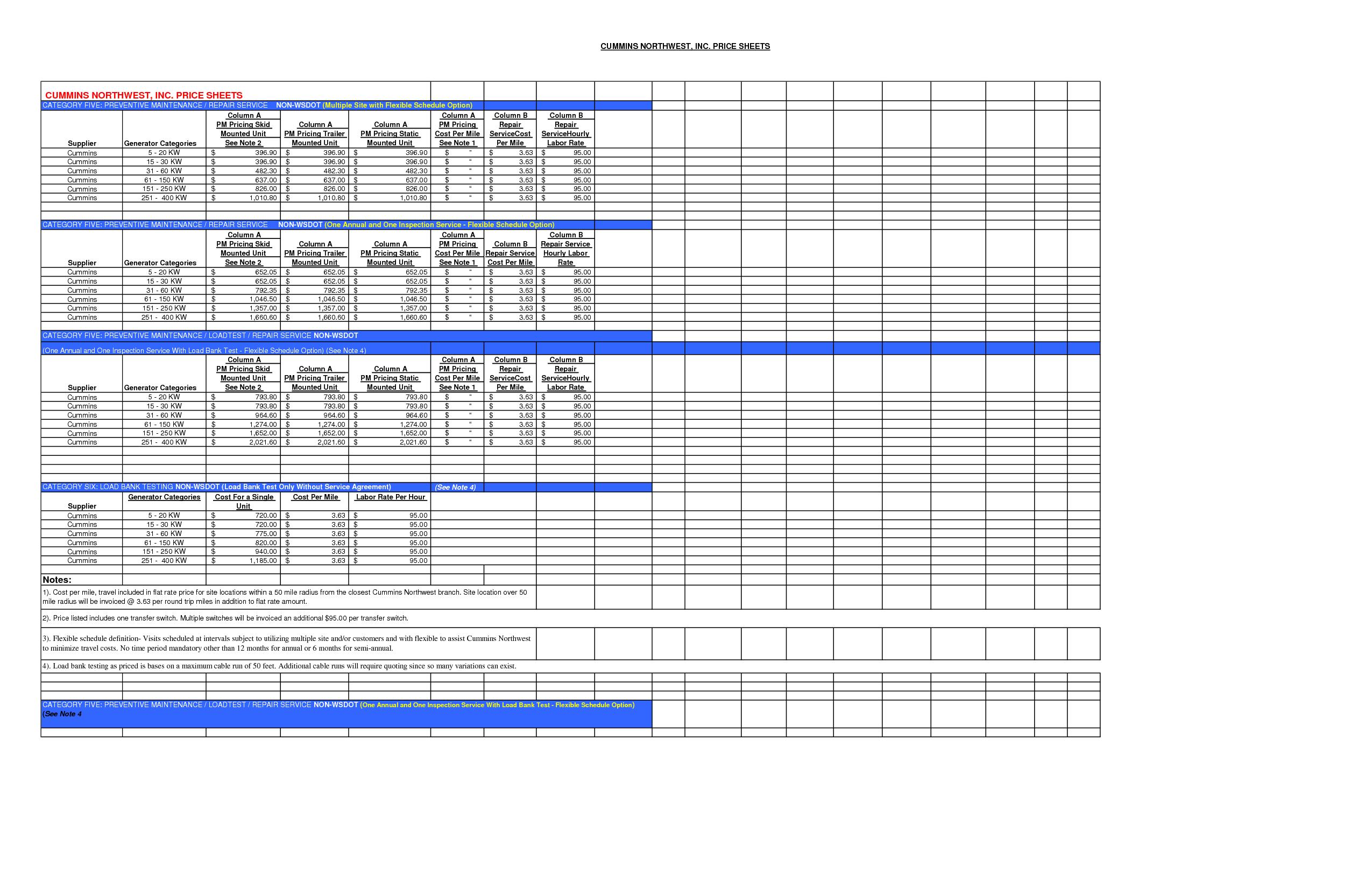 Preventive Maintenance Schedule Template | hunecompany.com