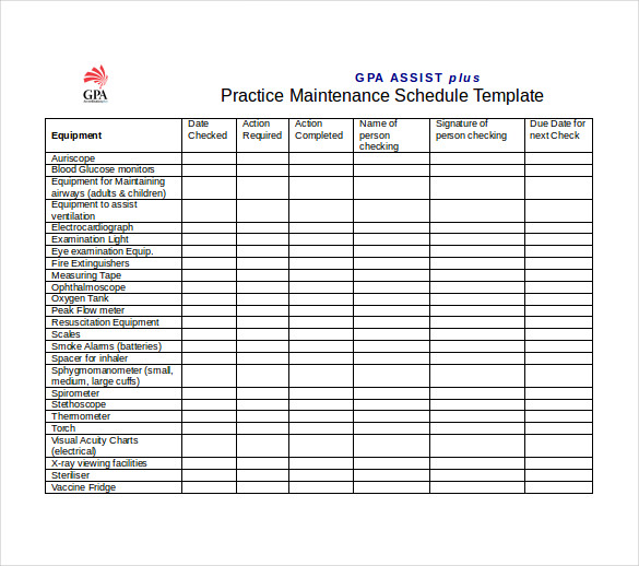 Free Preventive Maintenance Schedule Template
