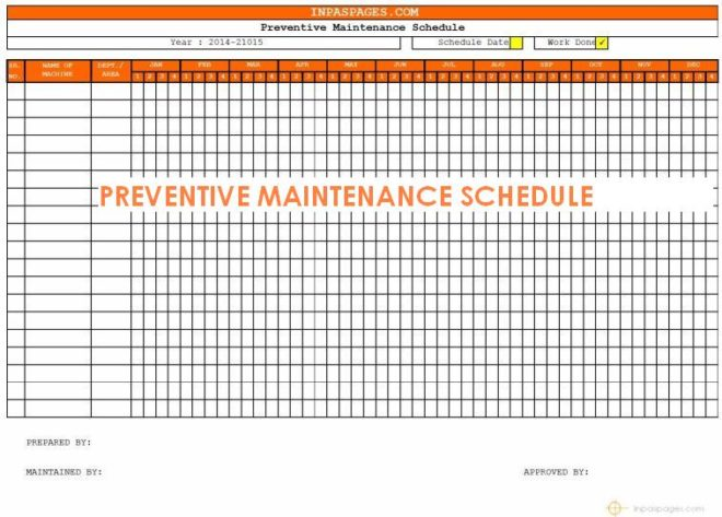 Maintenance Schedule Templates Word, Excel, PDF Format