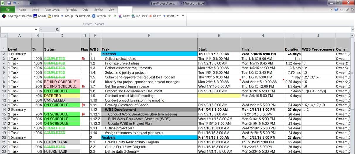 EasyProjectPlan© SCREENSHOTS | Excel Gantt Chart Template Planner