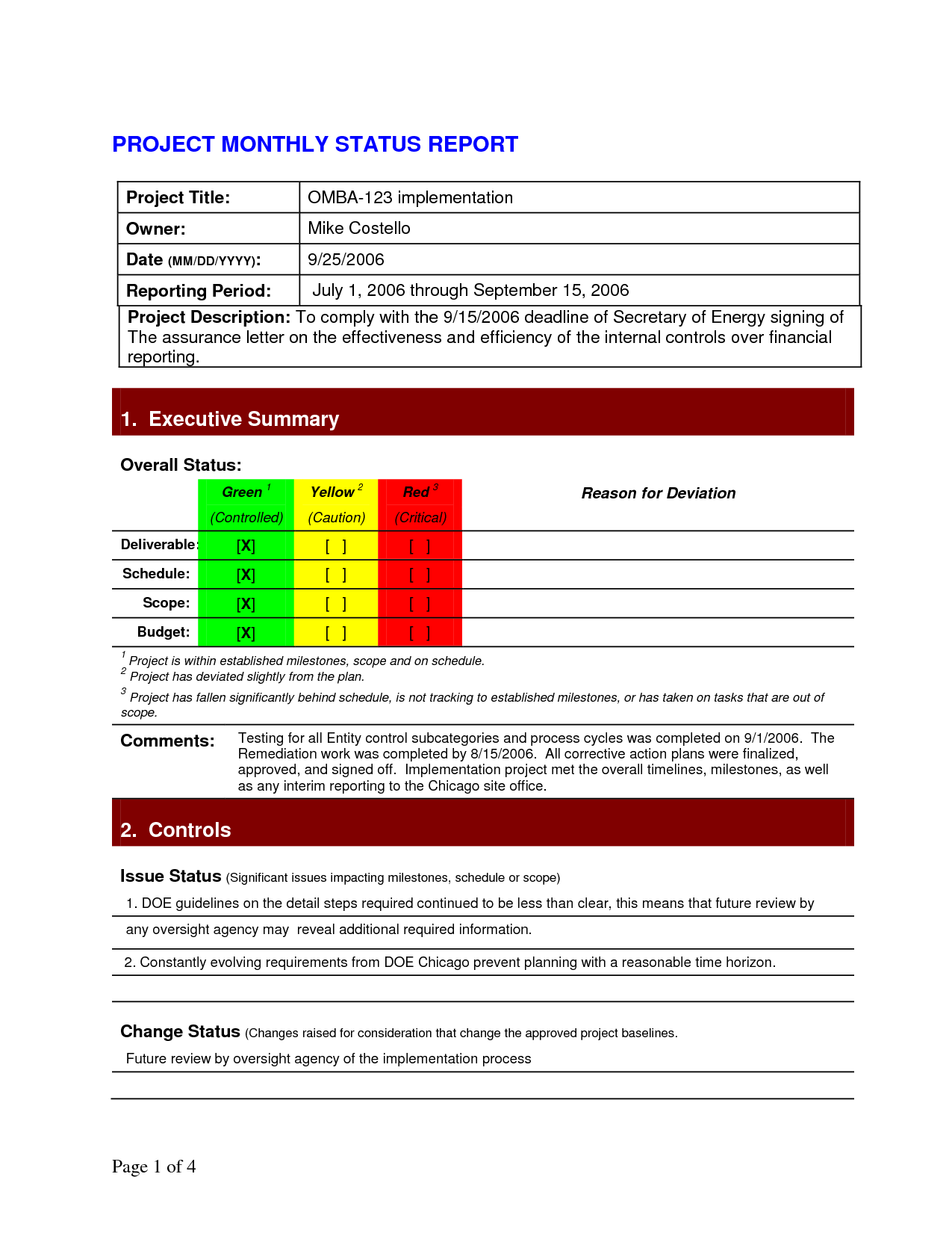 free download project status report template doc