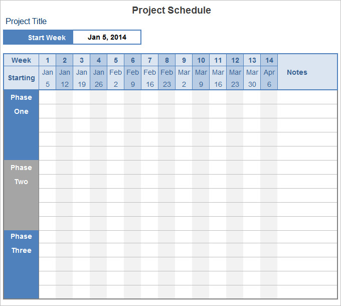 Project Schedule Template 14+ Free Excel Documents Download