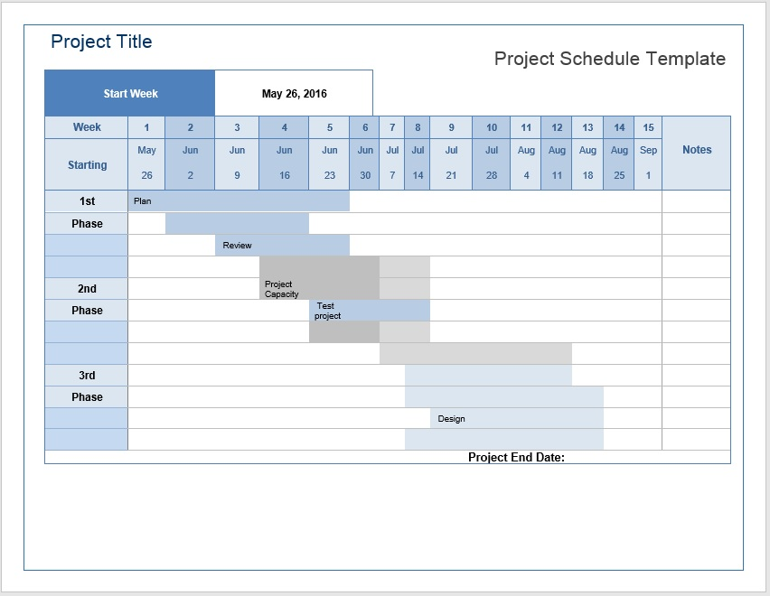 Project Timeline Template for Excel® and Word