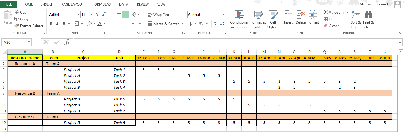 Excel based Resource Plan Template Free Free Project Management