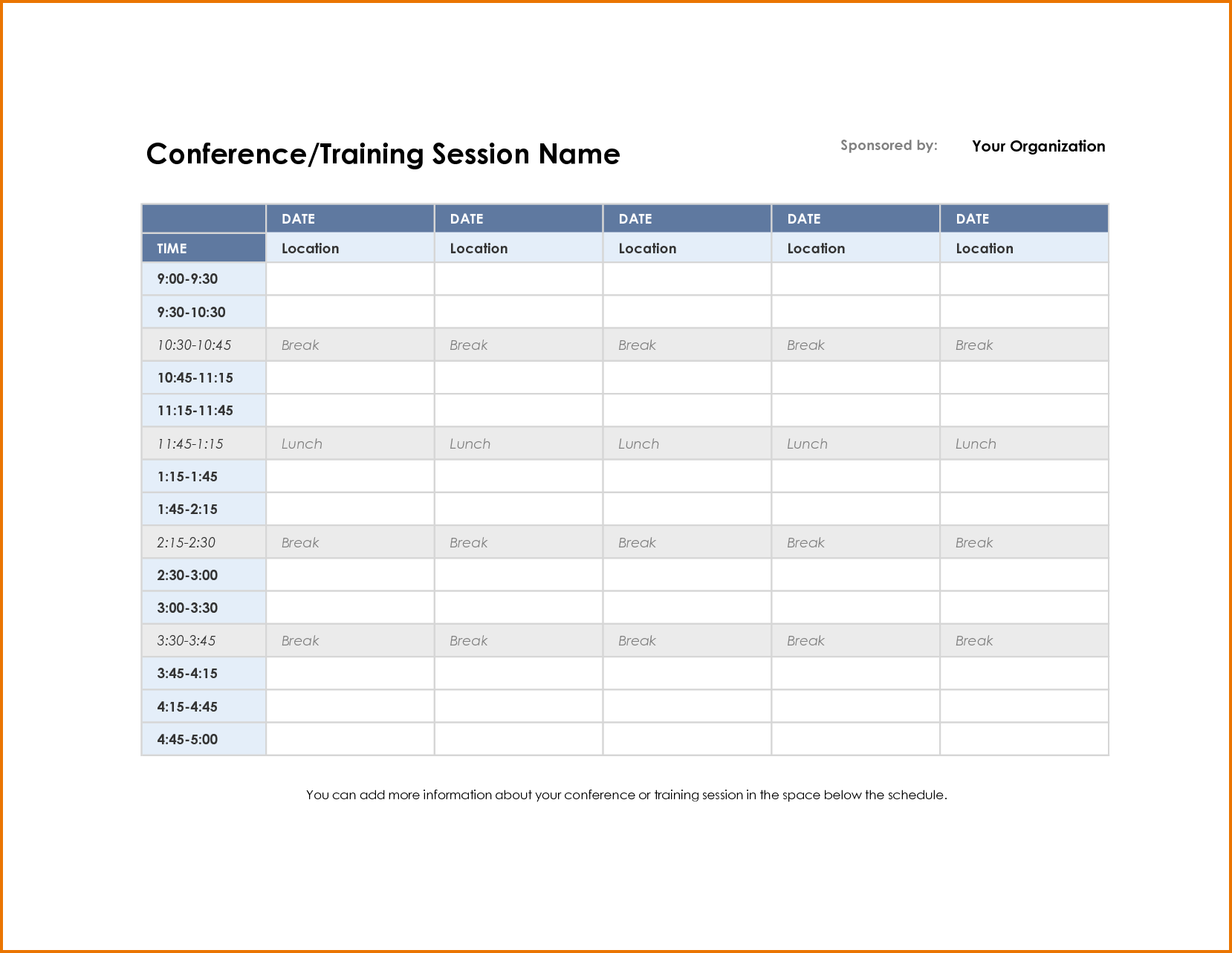 3 meeting schedule template | Divorce Document