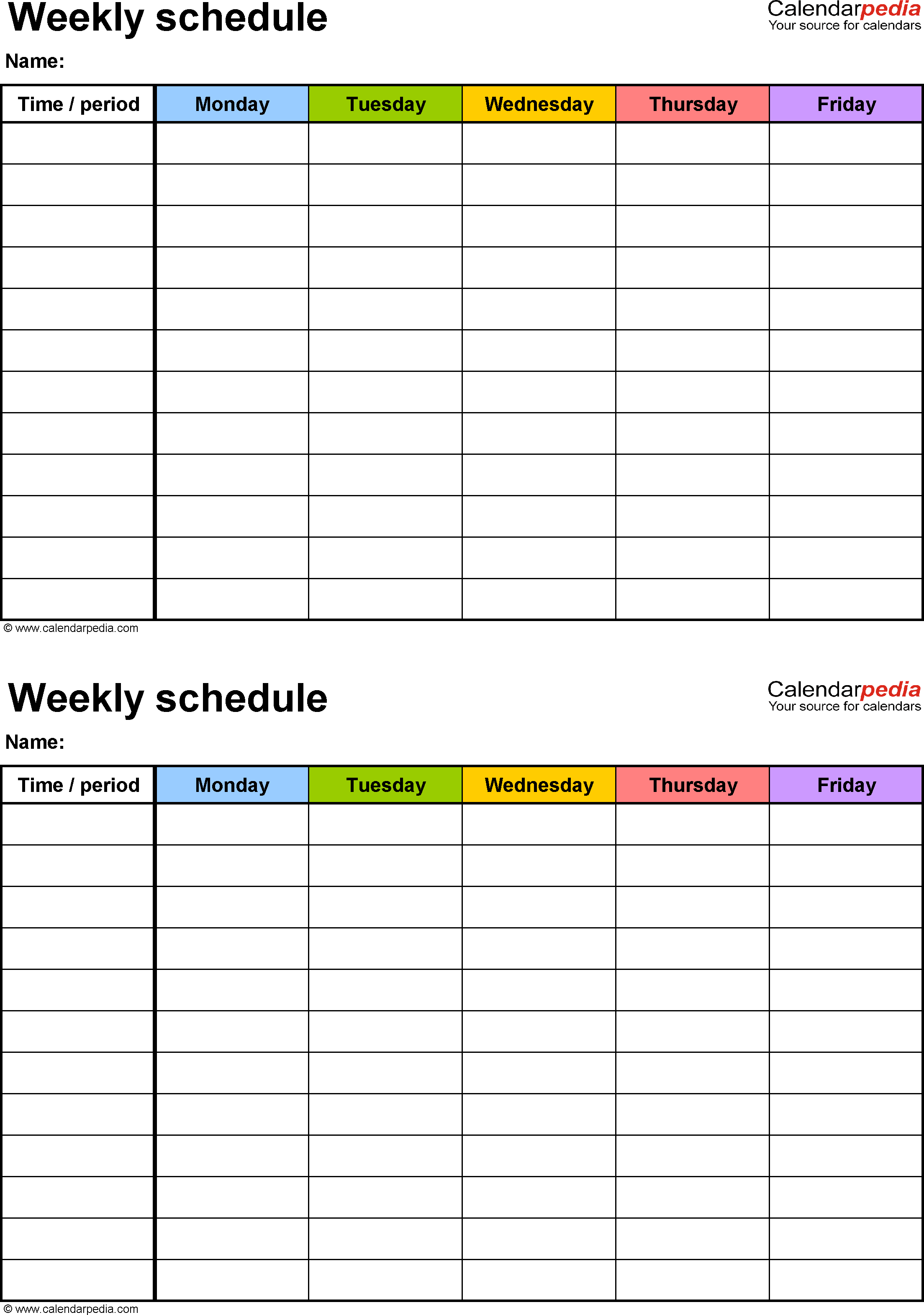 Weekly schedule template for Excel version 3: 2 schedules on one