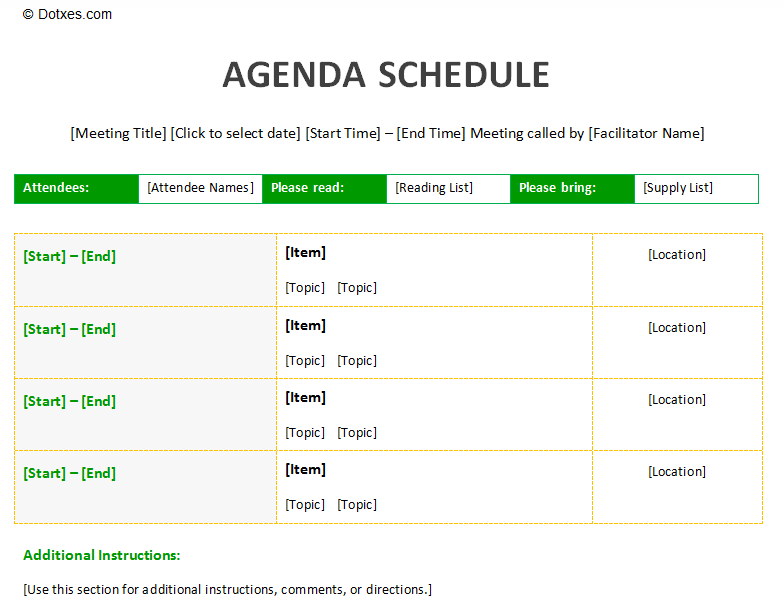 Meeting agenda schedule template to improve your meeting | Agenda