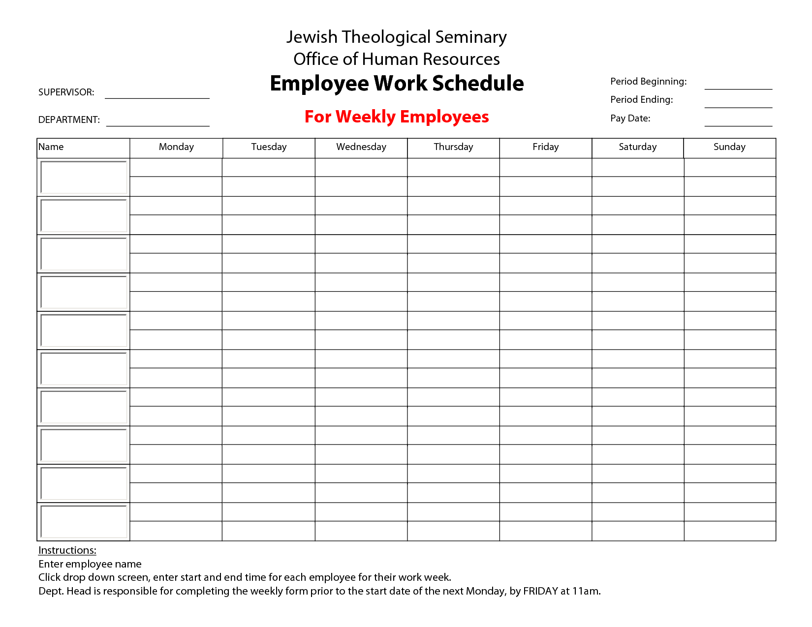 Awesome Employee Schedule Template | Best Templates