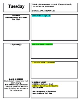 Lesson Plan Template for Block Schedule Week Time Frame by Kaytee Hill