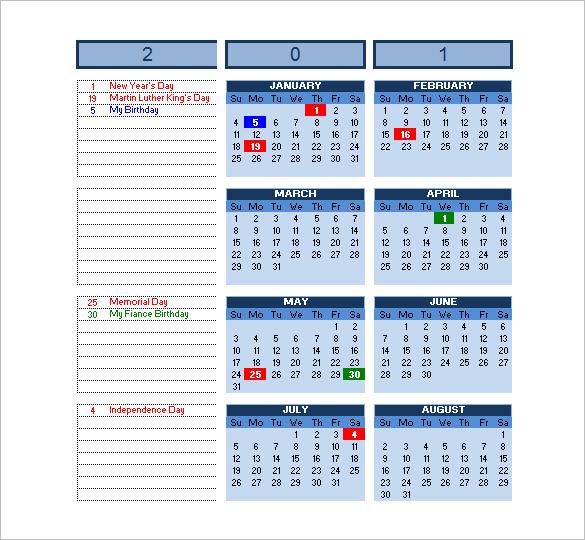 Excel Fitness Workout Calendar Template | Monthly Calendar Spreadsheet