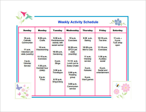 Project Activity Schedule Template