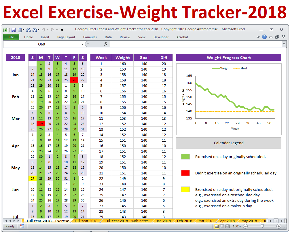 Excel Fitness Tracker and Weight Tracker for Year 2018 | Weight
