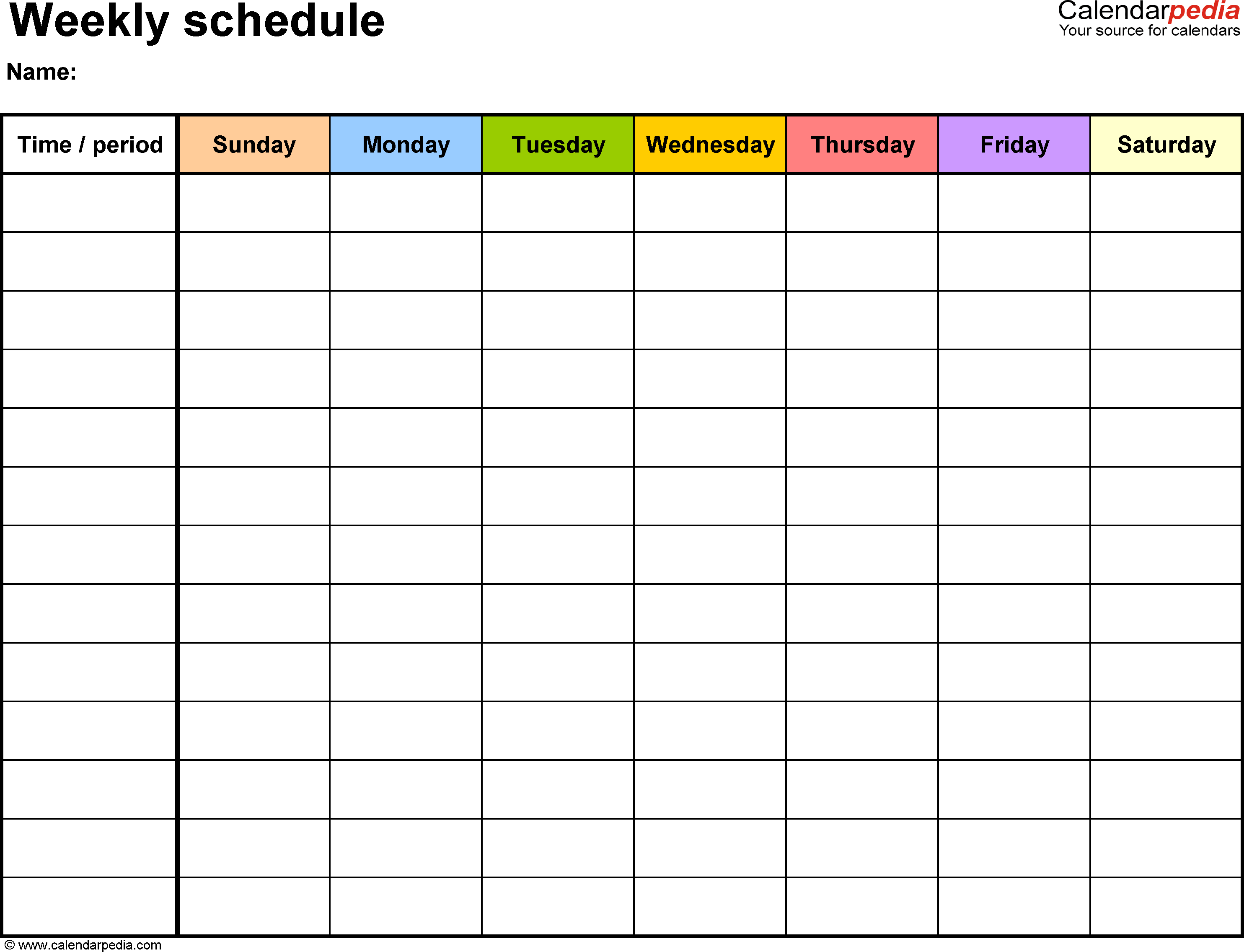 Weekly Schedule Planning Template